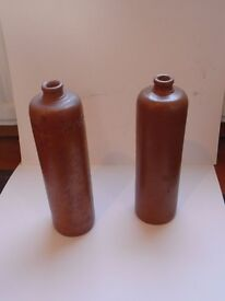 2 GLAZED BEER POTS