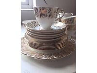 CLARE BONE CHINA GOLD AND FLORAL TEA SET - REALLY PRETTY - Excellent condition