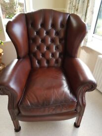 Brown leather armchair (Morley Wing Chair)