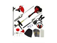 Gardening petrol multi tool, chain saw, hedge trimmer, brush cutter and strimmer
