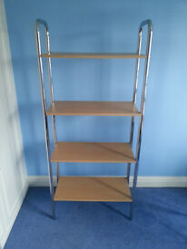 Chrome and Beech effect shelving unit