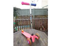 Pink 3 wheel Micro Scooter with new handle grips and wheel whizzers