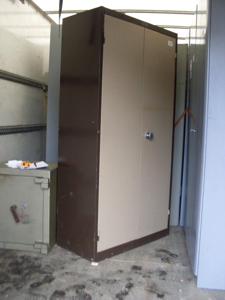 OFFICE FILING CABINET METAL - 2 DOOR BROWN/BEIGE - USED