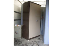 OFFICE FILING CABINET METAL - 2 DOOR BROWN/BEIGE - USED