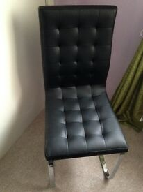 Dwell black leather 2 chairs