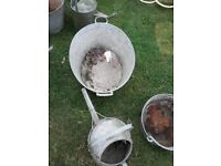 Vintage galvanised Job lot of watering cans, buckets and bath.