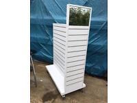 Retail slatwall gondola white with mirror