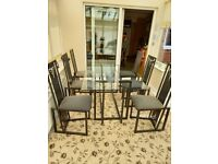 Dining & lamp tables + 6 chairs