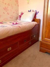 Bed, Wardrobe, Desk & Storage Chest Broom Furniture Set - Fantastic Quality!