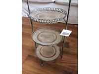 Shabby Chic Glass & Metal Cake Stand with Bird