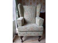 Queen Anne wingback armchair