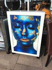 Unusual White Glass / Mirrored Blue Face Chest Of Drawers