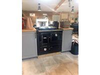 NEW Aga Rayburn 216 SFW solid fuel range cooker in dark blue - showroom ex display. Unused
