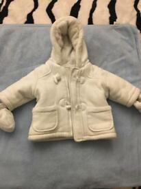 Baby unisex hooded coat with mittens