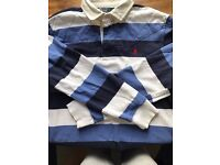 GENUINE Men's POLO By RALPH LAUREN Navy/White Polo Rugby Shirt Size L