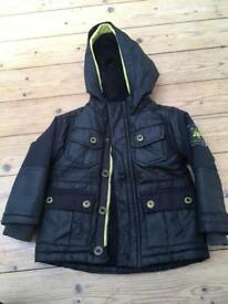 Ted Baker Boys Coat - Black/Yellow jersey inner hood 18-24 months (hardly used)