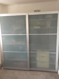 Ikea Pax wardrobe with shelves, baskets, rails and drawers