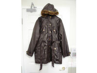 Peacocks chocolate brown faux-leather parka size 20