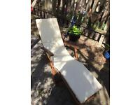 Garden set - Wooden table & 6 chairs, wooden parasol with base, wooden sunlounger