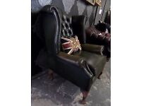 Stunning Vintage Chesterfield Queen Anne Wing Back Chair 30 Years Old Green Leather - UK Delivery
