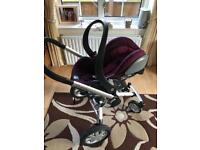 Stokke Be Safe iZi Go Car Seat with Quinny Wheels and two Isofix Bases
