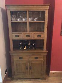 Solid oak dresser and side cabinet