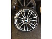 "Genuine 19"" 403m BMW wheels with brand new Pirelli run flat tyres -near mint"