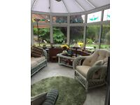 Wicker Conservatory Furniture. Armchair, Sofa and Coffee Table