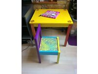 SUPER COOL KIDS ACTIVITY TABLE WITH CHAIR ( HAND PAINTED)!!! BS16.