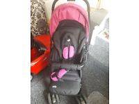Joie Fuscia pink and black Pram for Birth - 36 months old