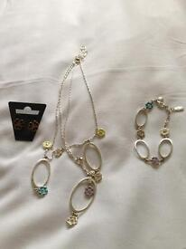 Pilgrim Necklace, Bracelet and Earnings
