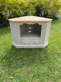 Shabby chic sold pine corner tv unit
