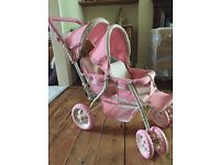 Doll double tandem pushchair pram