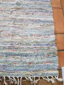 Blue woven boho rug