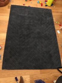 Navy blue wool rug