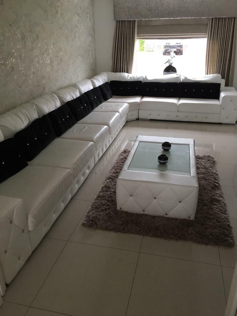 8 Seater White Leather Sofa With Matching Coffee Table FINAL REDUCED PRICE