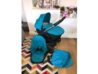 icandy strawberry 2 blue pram pushchair