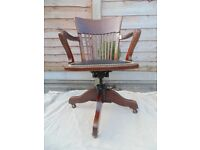 Edwardian quality adjustable desk chair made by London cabinet makers WM. ANGUS