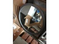 Large round wooden mirror - approx 90cm diameter