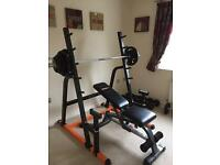 Home gym for sale, squat rack, weight bench, olympic barbell and dumbbell