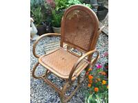 Vintage bamboo and wicker rocking chair