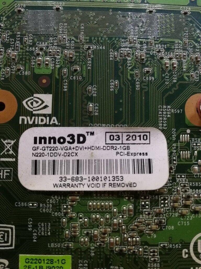 Nvidia Inno3d Geforce Gt220 Ddr2 1gb Vga Dvi Hdmi Fully Working Card