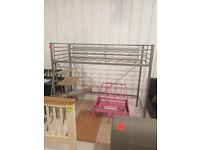 Sit 'N Sleep Metal High Sleeper Futon Bed Frame - Pink (Please call - Michal 07851770393)