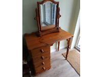 4 drawer solid Pine Dressing Table with matching mirror