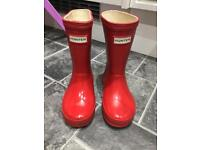 Red kids junior size 8 Hunter wellies