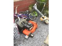 Petrol lawnmower and leaf blower and chain saw for sale