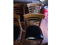 A GREAT LOOKING SET OF 4 MID-CENTURY TEAK & VINYL DANISH STYLE DINING CHAIRS FREE DELIVERY