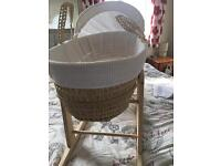 2 x moses baskets with rocking stands