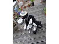 Golf Clubs + Bag, Mizuno mx-15 Irons 3 woods putter trolley and balls