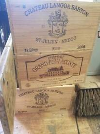 3 French wine bottle boxes excellent condition